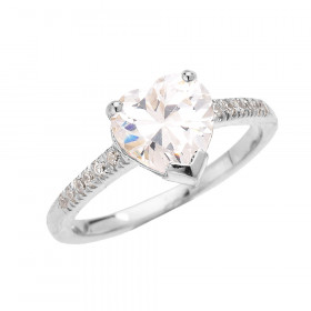 CZ Heart Diamond Band Engagement Ring in 9ct White Gold
