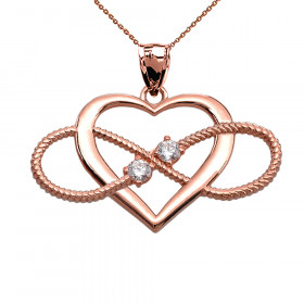 CZ Heart Infinity Rope Design Pendant Necklace in 9ct Rose Gold