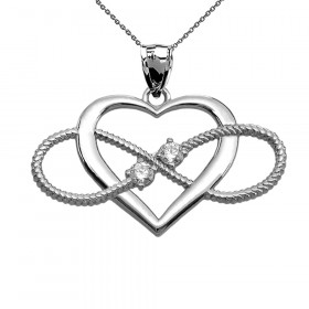 CZ Heart Infinity Rope Design Pendant Necklace in 9ct White Gold