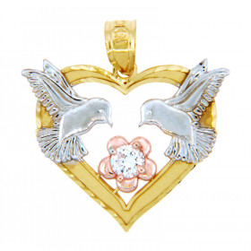 CZ Heart Lovebirds Flower Pendant Necklace in 9ct Three-Tone Gold