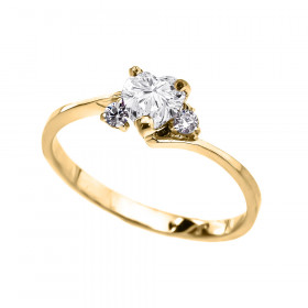 CZ Heart Promise Engagement Ring in 9ct Gold