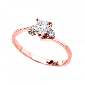 CZ Heart Promise Engagement Ring in 9ct Rose Gold