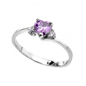 CZ Heart Promise Engagement Ring in 9ct White Gold