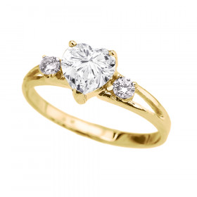 CZ Heart Promise Ring in 9ct Gold