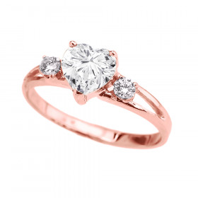 CZ Heart Promise Ring in 9ct Rose Gold