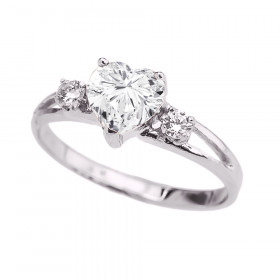 CZ Heart Promise Ring in 9ct White Gold