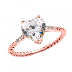 CZ Heart Rope Design Diamond Band Engagement Ring in 9ct Rose Gold