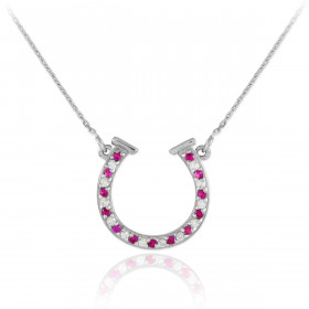 CZ Horseshoe Pendant Necklace in 9ct White Gold