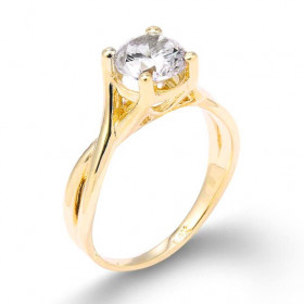CZ Infinity Band Solitaire Engagement Ring in 9ct Gold