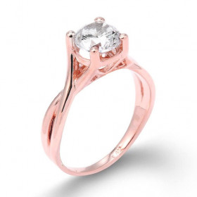 CZ Infinity Band Solitaire Engagement Ring in 9ct Rose Gold