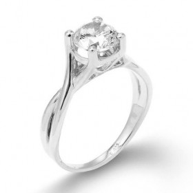 CZ Infinity Band Solitaire Engagement Ring in Sterling Silver