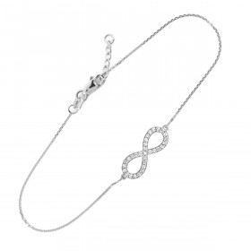 CZ Infinity Bracelet in 9ct White Gold