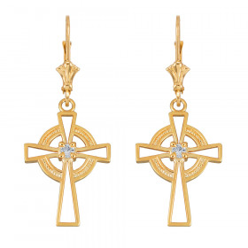 CZ Irish Earrings in 9ct Gold