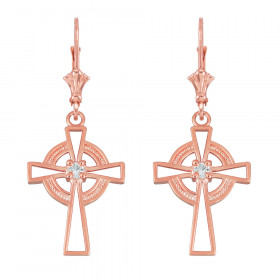 CZ Irish Earrings in 9ct Rose Gold