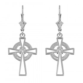 CZ Irish Earrings in 9ct White Gold