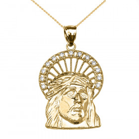 CZ Jesus Face Halo Charm Pendant Necklace in 9ct Gold