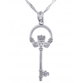 CZ Key Claddagh Pendant Necklace in Sterling Silver