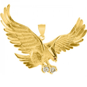 CZ Large Eagle Pendant Necklace in 9ct Gold