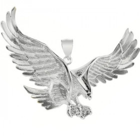 CZ Large Eagle Pendant Necklace in 9ct White Gold