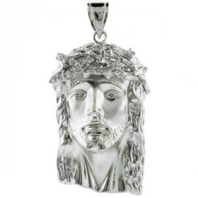 CZ Large Jesus Face Pendant Necklace in 9ct White Gold