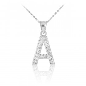 CZ Letter A Pendant Necklace in Sterling Silver