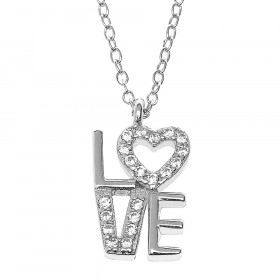 CZ Love Heart Pendant Necklace in Sterling Silver