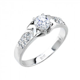CZ Micro-Pave Diamond Band Engagement Ring in Sterling Silver