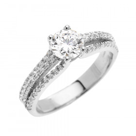 CZ Micro-Pave Modern Diamond Band Engagement Ring in 9ct White Gold