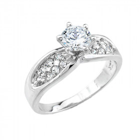 CZ Micro-Pave Solitaire Engagement Ring in 9ct White Gold