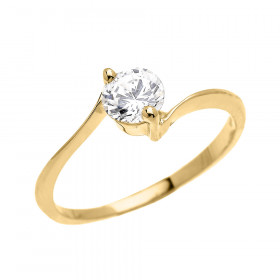 CZ Modern Solitaire Engagement Ring in 9ct Gold