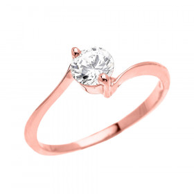 CZ Modern Solitaire Engagement Ring in 9ct Rose Gold