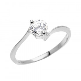 CZ Modern Solitaire Engagement Ring in 9ct White Gold