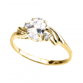 CZ Oval Engagement Ring in 9ct Gold