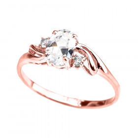 CZ Oval Engagement Ring in 9ct Rose Gold