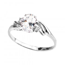 CZ Oval Engagement Ring in 9ct White Gold