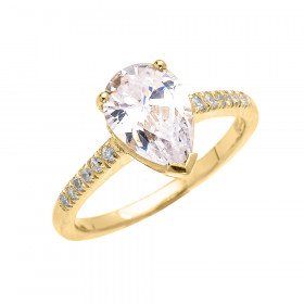 CZ Pear Shape Diamond Band Engagement Ring in 9ct Gold