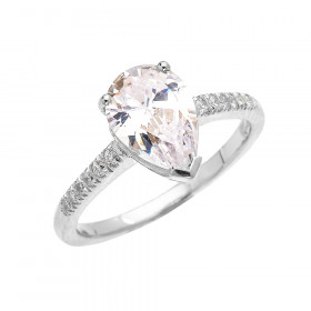 CZ Pear Shape Diamond Band Engagement Ring in 9ct White Gold