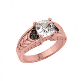 CZ Radiant Vintage Engagement Ring in 9ct Rose Gold