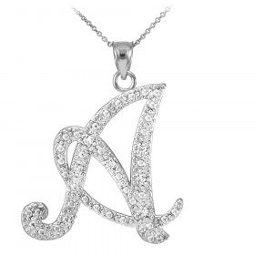 CZ Script Letter A Pendant Necklace in Sterling Silver