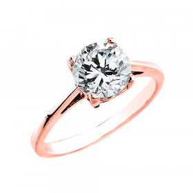CZ Solitaire Engagement Ring in 9ct Rose Gold