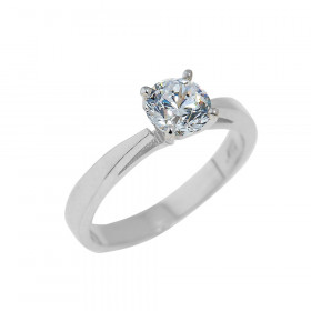 CZ Solitaire Engagement Ring in Sterling Silver