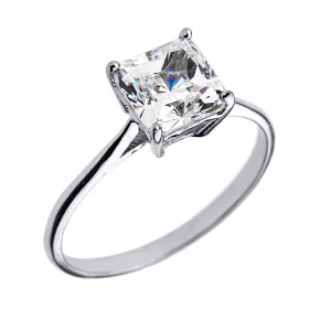 CZ Solitaire Engagement Ring in 9ct White Gold