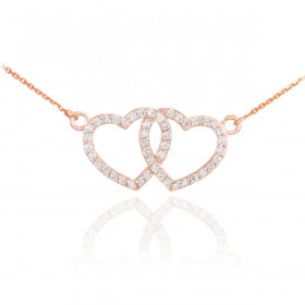 CZ Studded Double Heart Pendant Necklace in 9ct Rose Gold