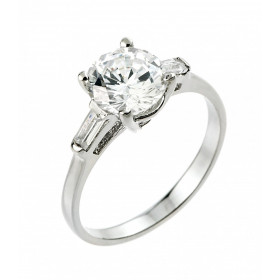 CZ Three-Stone Diamond Band Engagement Ring in Sterling Silver