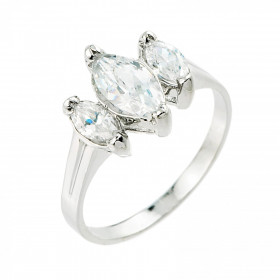 CZ Three-Stone Engagement Ring in Sterling Silver