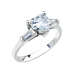 CZ Three-Stone Engagement Ring in 9ct White Gold