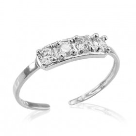 CZ Toe Ring in 9ct White Gold