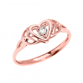 CZ Trinity Knot Heart Engagement Ring in 9ct Rose Gold