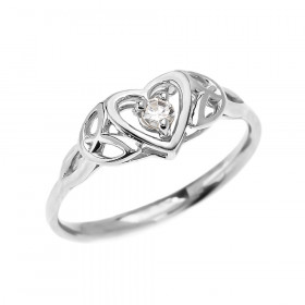 CZ Trinity Knot Heart Engagement Ring in 9ct White Gold