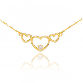 CZ Triple Heart Pendant Necklace in 9ct Gold